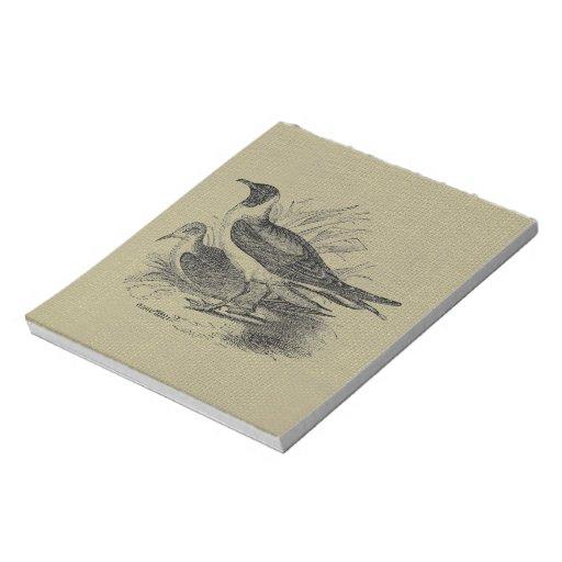 Gaviotas en la arpillera de la harina de avena libreta para notas