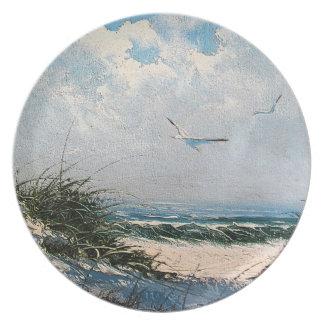 Gaviotas en la playa platos para fiestas