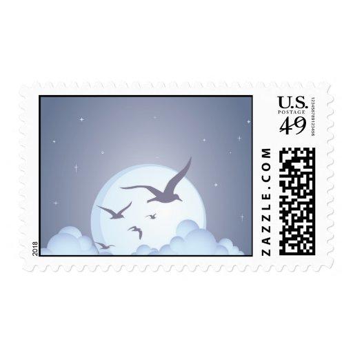 Gaviotas en la púrpura de la noche timbres postales