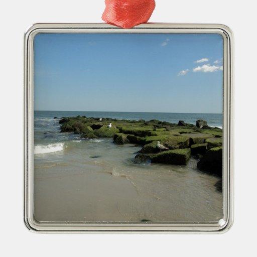 Gaviotas en rocas adorno cuadrado plateado