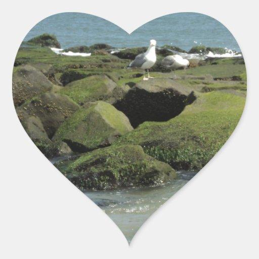 Gaviotas en rocas pegatinas corazon personalizadas