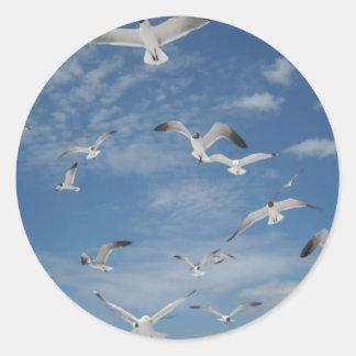 Gaviotas en vuelo pegatina redonda