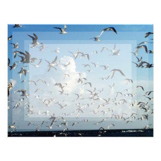 gaviotas que vuelan sobre la playa plantilla de membrete