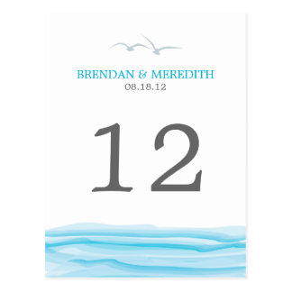 Gaviotas sobre el número de la tabla del océano tarjetas postales