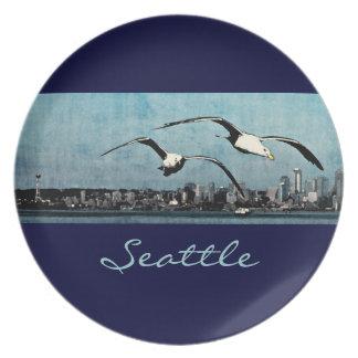"""Gaviotas sobre la placa 10"""" de Seattle Platos Para Fiestas"""