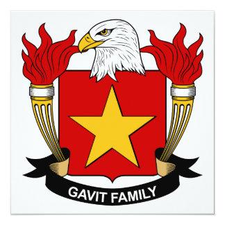 "Gavit Family Crest 5.25"" Square Invitation Card"