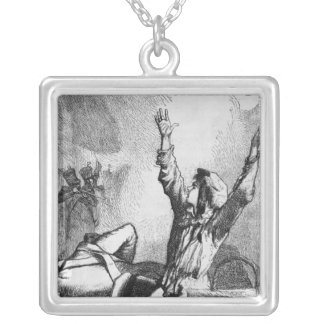 Gavroche had fallen only to rise again silver plated necklace