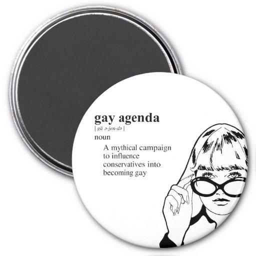 GAY AGENDA 3 INCH ROUND MAGNET