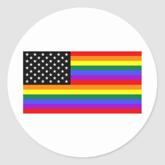 Gay America Pride Flag Classic Round Sticker