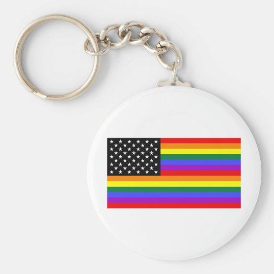 Gay America Pride Flag Keychain