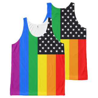 Gay American Flag - 6 colors black.png All-Over Print Tank Top
