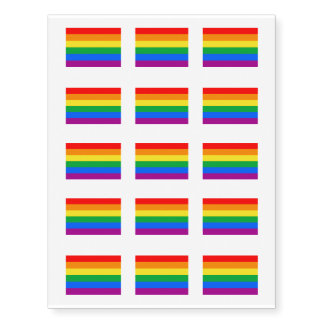 Gay American Flag - Rainbow 13 colors.png Temporary Tattoos