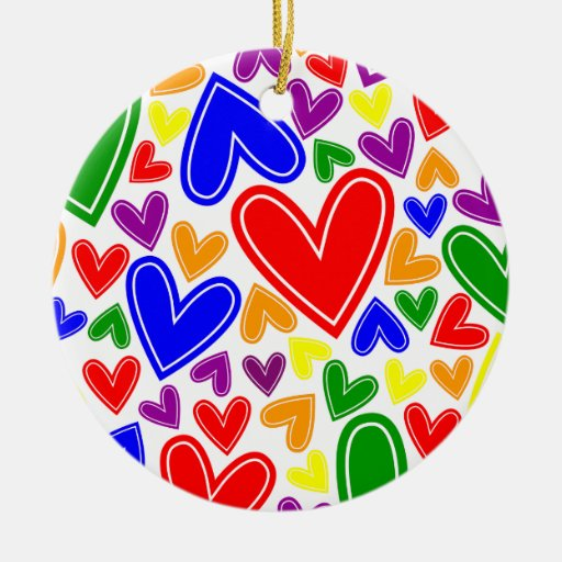 Gay And Lesbian Hearts Christmas Tree Ornaments