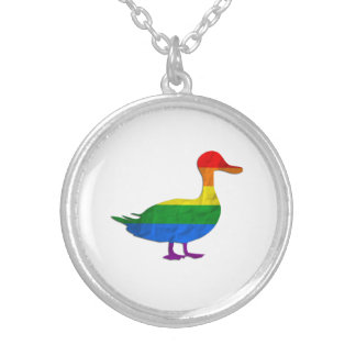 Gay and Lesbian Pride duck necklace, Quack Quack Silver Plated Necklace