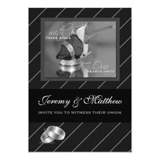 Gay and Lesbian Wedding Invitation Black Pinstripe