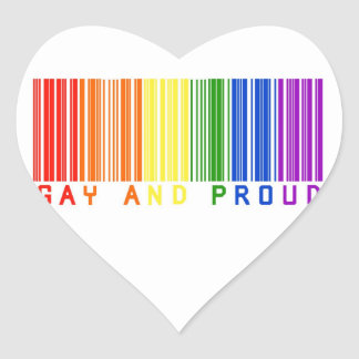 Gay and Proud  Bar Code Heart Stickers