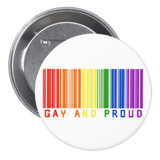Gay and Proud  Barcode Pinback Button
