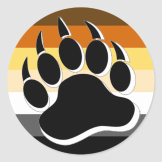 Gay Bear claw B&W 3D effect Bear Pride Colors Classic Round Sticker