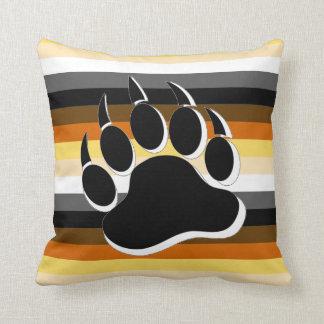 Gay Bear claw B&W 3D effect Bear Pride Colors Pillows