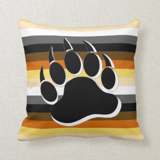 Gay Bear claw B&W 3D effect Bear Pride Colors Throw Pillow