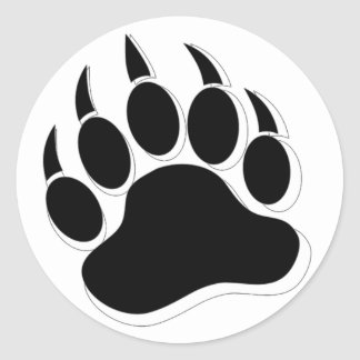 Gay Bear claw B&W 3D effect Large Round Sticker
