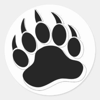 Gay Bear claw B&W 3D effect Large Round Sticker