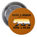 Gay Bear Colors Save A Horse Ride A Bear 3 Inch Round Button