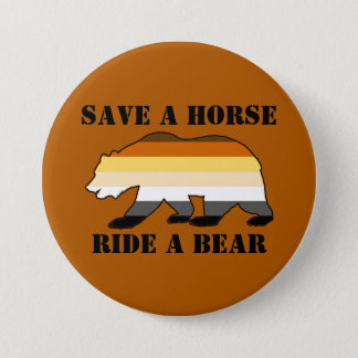 Gay Bear Colors Save A Horse Ride A Bear Pinback Button