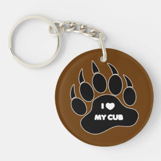 Gay Bear I Heart my Cub Bear Paw Keychain