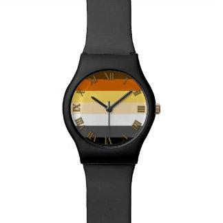 Gay Bear Pride Colors Roman Numbers all Black Wristwatch