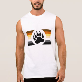 Gay Bear Pride colors stripes and Bear Paw Sleeveless Shirt