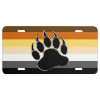 Gay Bear Pride Flag Bear Paw License Plate