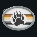 "Gay Bear Pride Flag Bear Paw Oval Belt Buckle<br><div class=""desc"">Gay Bear Pride Flag Bear Paw</div>"