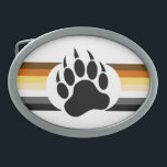 "Gay Bear Pride Flag Bear Paw Oval Belt Buckle<br><div class=""desc"">Gay Bear Pride Flag Bear Paw</div>"