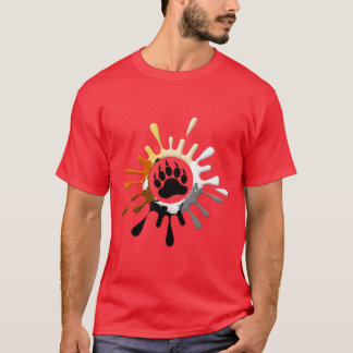 Gay Bear Pride Flag Colors Splash Bear Paw T-Shirt
