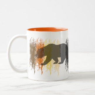 Gay Bear Pride Grunge abstract Pride Colors Two-Tone Coffee Mug