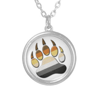 Gay Bear Pride Paw Round Pendant Necklace