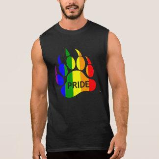 Gay Bear Pride Rainbow Flag Bear Paw Sleeveless Tees