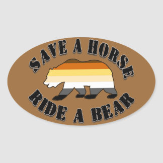 Gay Bear Pride Save a Horse Ride Bear Oval Sticker