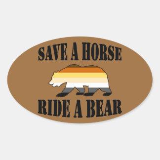 Gay Bear Save a Horse Ride a Bear Oval Sticker