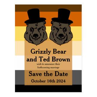 Gay Bears on Bear Flag Save the Date Postcard