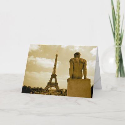 Gay Birthday Viewing the Eiffel Tower Greeting Card by reggiesgayadventures