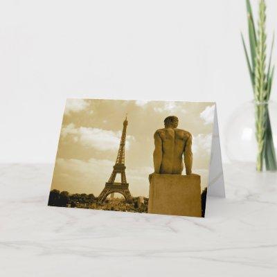 Gay Birthday Viewing the Eiffel Tower Greeting Card by reggiesgayadventures