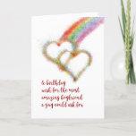 """Gay Birthday Wish for Boyfriend, Hearts Card<br><div class=""""desc"""">Wish your mate,  the most amazing boyfriend a guy could ask for,  a happy birthday with this lgbt colorful greeting card that has a bright airbrush effect image of two interlocking hearts,  which have formed at the end of a rainbow.</div>"""