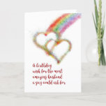 "Gay Birthday Wish for Husband, Rainbow, Hearts Card<br><div class=""desc"">Wish your mate,  the most amazing husband a guy could ask for,  a happy birthday with this lgbt colorful greeting card that has a bright airbrush effect image of two interlocking hearts,  which have formed at the end of a rainbow.</div>"