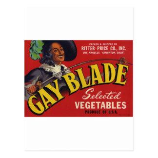 Gay Blade Vegetables Postcard