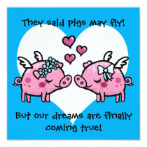 Gay bride pigs may fly wedding invitation