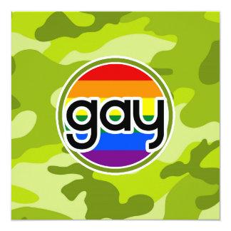 Gay; bright green camo, camouflage 5.25x5.25 square paper invitation card