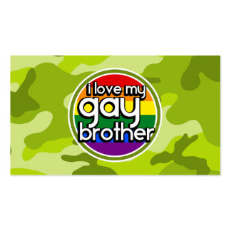 Gay Brother; bright green camo, camouflage Business Card Templates