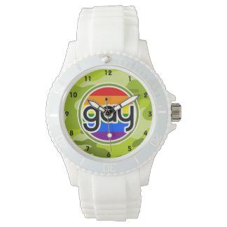 Gay; camo verde claro, camuflaje relojes de pulsera